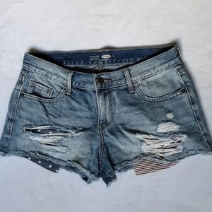 Old navy American flag shorts distressed